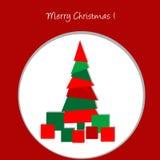 Christmas card with Christmas tree and presents Stock Photography