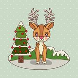 Christmas card with christmas tree and reindeer on colorful landscape background mountains and snow falling. Vector illustration Royalty Free Stock Image