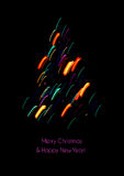 Christmas card with a christmas tree shape made of lights. Christmas card with a christmas tree shape made of colored lights. Bright colors on a black background Stock Illustration