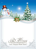 Christmas card with Christmas tree and snowman.   Christmas card with a Christmas tree and a snowman on the background of fir trees and the night sky vector illustration