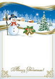 Christmas card with a Christmas tree and a snowman. On the background of a winter landscape vector illustration