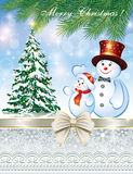 Christmas card with Christmas tree and snowman Stock Photography