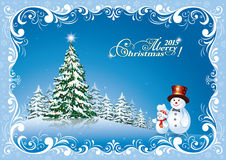Christmas card 2015 with Christmas tree and snowman. Christmas card with Christmas tree and snowman in a decorative frame Royalty Free Stock Photo
