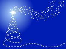 Christmas card with christmas tree and stars Stock Photography
