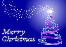 Christmas card with christmas tree and stars Stock Photos