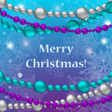 Christmas card with christmas tree toys ant text Royalty Free Stock Photo