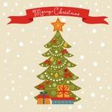 Christmas card with Christmas tree Stock Photo