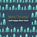 Christmas card with Christmas trees. In a flat style. Merry Christmas and happy New Year! With long shadows. Christmas greeting. Congratulation Royalty Free Stock Image