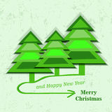 Christmas card with christmas tress Stock Images