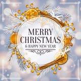 Christmas card with circular garland. Christmas card with circular garland made from fir branches, yellow berries, gingerbreads, cinnamon, orange, pearls Stock Image