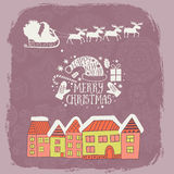 Christmas card with city view, lettering message label, greeting card with houses and Santa Claus in his sleigh of reindeer in the. Sky silhouette on ornamental Stock Photo