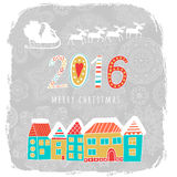Christmas card with city view, lettering message label, greeting card with houses and Santa Claus in his sleigh of reindeer in the Stock Photos