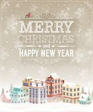 Christmas card with cityscape and snowfall. Stock Images