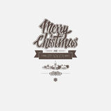Christmas card  with classic elements as background with Merry Christmas and Happy New Year greeting. In the middle. Monochrome badge Royalty Free Stock Photography