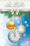 Christmas card with a clock and balls Royalty Free Stock Images