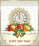 Christmas card with clock and Christmas decorations Royalty Free Stock Image