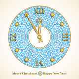 Christmas card with clock Stock Images