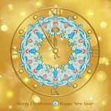 Christmas card with clock Royalty Free Stock Image