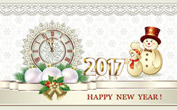 Christmas card with clock and snowman. Christmas card with a clock and a snowman on the background of snowflakes vector illustration