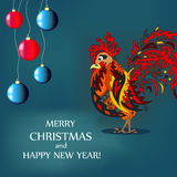 Christmas card with a cock and balls.  Stock Photo