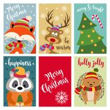 Christmas card collection with animals and wishes stock illustration