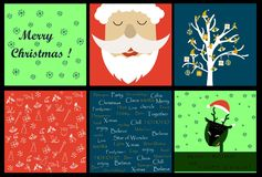 Christmas card  collection. Christmas card collection simple,for teenagers,useful as a note book. with backgrounds Stock Image