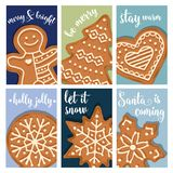 Christmas card collection with gingerbread vector illustration