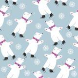 Christmas card collection with polar bears skatting stock illustration