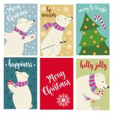 Christmas card collection with polar bears and wishes vector illustration