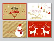 Christmas Card Collection, Set, simple, Modern, Vector Illustrat. Christmas Card Collection, Vector Illustration, Set of Design Royalty Free Stock Photos
