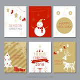 Christmas Card Collection, Vector Illustration, Happy new Year 2018. Christmas Card Collection, Vector Illustration, set of card Royalty Free Stock Photos