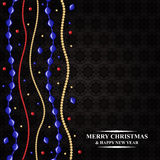 Christmas card with color beads garland Stock Image