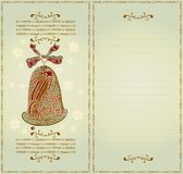 Christmas card color woodcut Royalty Free Stock Photo