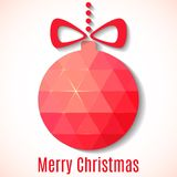 Christmas card with colored ball. Stock Photo