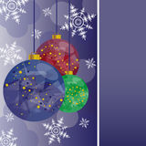 Christmas card with colored balls. Illustration for Christmas card with colored balls Stock Photo