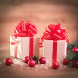 Christmas card. colorful boxes with gifts on Christmas backgroun Royalty Free Stock Image