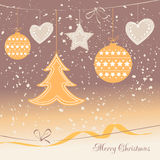 Christmas card with colorful decorations Stock Images