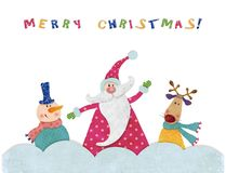 Christmas card. Colorful graphic illustration for children Stock Photos