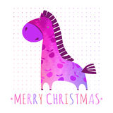 CHRISTMAS card with colorful horse Stock Photography