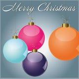 Card Merry Christmas Ball. Christmas card colot purple pink cian orange royalty free illustration
