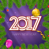 Christmas card with coming 2017 year. Template for your greeting cards. Christmas card with coming 2017 year. Golden Christmas balls, red star with green fir Stock Photography
