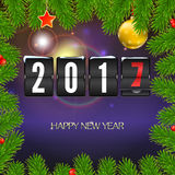 Christmas card with coming 2017 year. Template for your greeting cards. Christmas card with coming 2017 year. Golden Christmas balls, red star with green fir Stock Photos