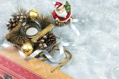 Christmas holidays composition on a white blue concrete background with copy space for your text stock photography