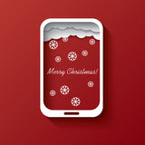 Christmas card concept design in smartphone Stock Photo
