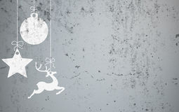 Christmas Card Concrete Star Caribou Bauble. Christmas card with concrete background Royalty Free Stock Image
