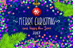 Christmas card with confetti. Merry Christmas and Happy New Year 2017, vector illustration. confetti, a hand-written inscription,. Christmas tree branch Stock Image