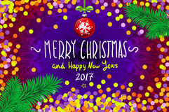 Christmas card with confetti. Merry Christmas and Happy New Year 2017, vector illustration. confetti, a hand-written inscription,. Christmas tree branch Stock Photography