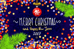 Christmas card with confetti. Merry Christmas and Happy New Year 2017, vector illustration. confetti, a hand-written inscription,. Christmas tree branch Royalty Free Stock Image
