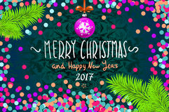 Christmas card with confetti. Merry Christmas and Happy New Year 2017, vector illustration. confetti, a hand-written inscription,. Christmas tree branch Stock Photo