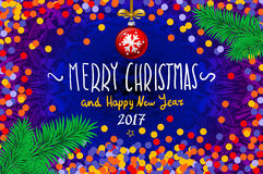 Christmas card with confetti. Merry Christmas and Happy New Year 2017, vector illustration. confetti, a hand-written inscription,. Christmas tree branch Stock Photos